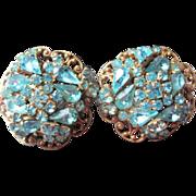 Original by Robert clip back turquoise rhinestone clip earrings