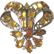 Nice unsigned amber rhinestone dress clip