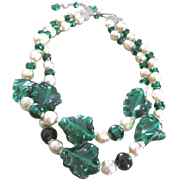 "Two strand Faux Pearl necklace with poured green glass beads and leaves 14"" long plus ..."