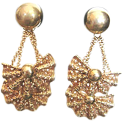 Fabulous vintage double dangle Napier signed clip earrings