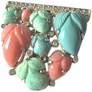 Vintage Trifari carved glass pastel clip mate turquoise coral and green