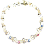 SOLD Jomaz gold washed link collar necklace studded with rhinestones
