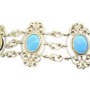 SALE French antique 14k yellow gold Persian turquoise filagree bracelet