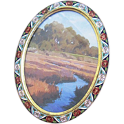 Exceptional oval shaped Enamel Roses decorated picture frame with easel back signed Le Trianon