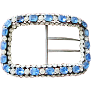 Massive Vintage French belt Buckle encrusted with rhinestones