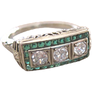 ART DECO filagree 18kwg 0.60 tw DIAMOND ring surrounded by EMERALDS