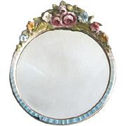 SOLD Large round English BARBOLLA MIRROR with floral and ribbon decoration and self standing e