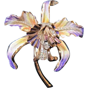 Vintage Coro Craft gold washed sterling and enamel orchid pin with rhinestone decoration
