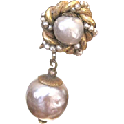 SOLD Miriam Haskell simulated and dangle pearl earrings with adjustable clip back