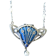 Art Nouveau French 900 sterling pendant with lapis a, enamel and dangle natural pearl