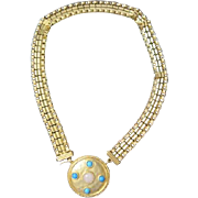 Wide costume jewelry chain and medallion set with rose quartz and turquoise