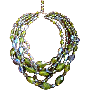 Vintage Czech five strand multi glass Crystal Necklace in olivine vitreal
