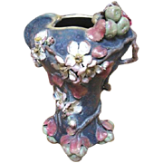 Wonderful Organic Austrian Amphora tall vase with an Apple Blossom theme