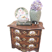 Small Vintage fruit wood three drawer cabinet with gold washed ormolu garnishes and painted ..