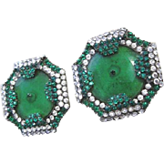 Fabulous pair of green and clear rhinestone glass giant belt buckles from an opulent era