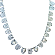 SOLD Filagree silver tone multi shield shaped links necklace some set with paste rhinestones s