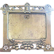 British Bronze Arts and Crafts picture frame with cherry motif