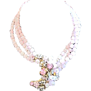 Perfect in Pink DeMario New York multi strand necklace with decorative glass and rhinestone cl