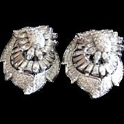 Unusual Vintage pair of all rhinestone fur clips with rhodium finish