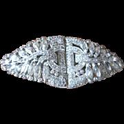 Early Trifari rhinestone clip mate set that can be a single pin or a pair of dress clips Circa