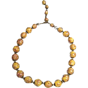 SALE Nice strand of Murano butterscotch and gold fleck glass beads from Venice Italy