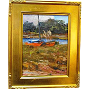SOLD Oil on board painting of Orange Catamarans by Sonoma California Listed artist Sterling Ho
