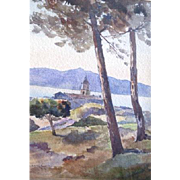 Lovely Watercolor Landscape By Sonoma County pioneer Walter Maurice Kessel featuring a hilltop