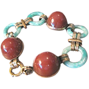 Exquisite ART DECO period linked dome shaped carnelian and jade bracelet set in German rolled