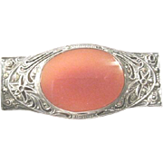 Very Vintage sterling marcasite and carnelian brooch stamped