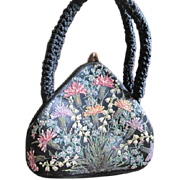 Vintage English Waldybag hand painted handbag made of black silk covered in flowers using ...