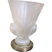 Elegant frosted glass double dove boudoir  LAMP by French company VIANNE 1928-2005