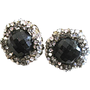 Nice pair of signed Miriam Haskell clip back earrings with black glass center surrounded by ..