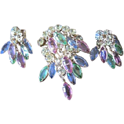 Pretty Spring colors pin and clip back earrings set with dangling marquis shaped pastel glass
