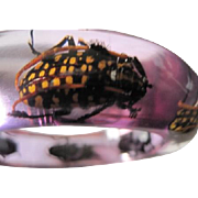 Bangle Bracelet decorated with Beetles embedded in lucite