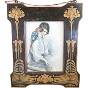 Fabulous Art Nouveau FRAME made of inlaid fruit woods in a floral motif currently framing ...