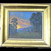 Dan Persinger signed landscape oil painting of a sunset over a hillside of Eucalyptus groves