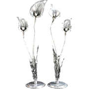 Art Nouveau pair of pewter handhammered candlesticks signed Nekrassoff made in the form of tal
