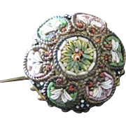 Antique Micro Mosaic multi floral round pin from Italy