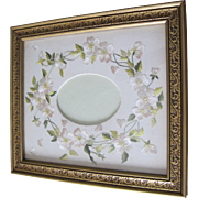 Art Nouveau embroidered white wild roses on linen mat. Ready for your photo. Set in ...
