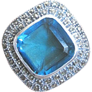 Sterling marcasite and faux blue topaz ring set on the diagonal