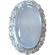 Amazing Platinum and 14kyg ring set with 12.90 carat oval cabachon MOONSTONE and 26 diamonds 1