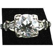 SALE Beautiful European cut diamond engagement ring 1.41 carat VS2 K-l set in 18k white gold a