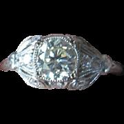 Vintage multi  Diamond engagement ring made of 18k white gold with appraisal Center diamond 1