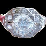 Vintage Platinum and Diamond ENGAGEMENT Ring