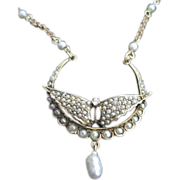 14k Art Nouveau natural pearl covered butterfly wings lavaliere with pearl accented chain