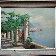 SALE Italian terrace above the sea oil painting by Vincient Ciappa