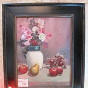Still life oil painting of lush roses and scattered fruit