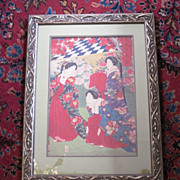 SALE Vintage Japanese woodblock print of a group of women by Chikanobu