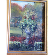 Beautiful Miniature painting of a garden in bloom framed