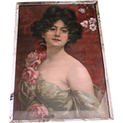 Stunning beauty chromolithograph in handpainted frame